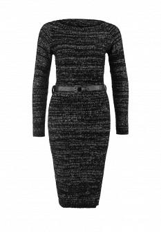 Серое черное осеннее платье
