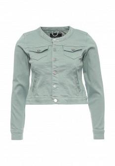 Женская зеленая осенняя джинсовая куртка