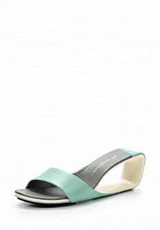 Женские зеленые кожаные сабо на каблуке