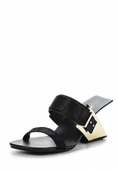 Женские черные сабо на каблуке с мехом