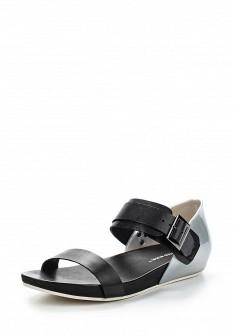 Женские черные серебряные кожаные сандалии