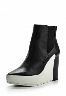 Женские белые черные кожаные ботильоны на каблуке