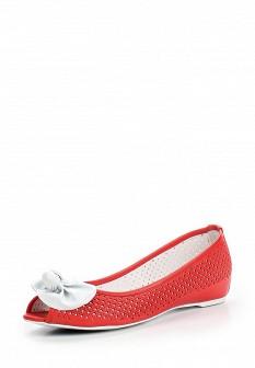 Женские красные кожаные балетки