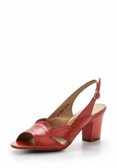 Женские коралловые кожаные босоножки на каблуке