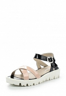 Женские бежевые кожаные сандалии на каблуке