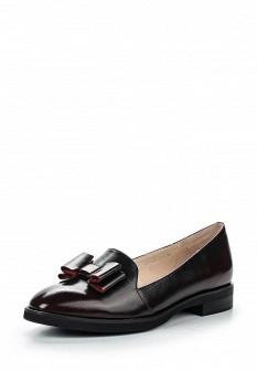 Женские бордовые кожаные туфли лоферы на каблуке