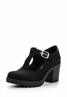 Женские черные текстильные туфли на каблуке на платформе
