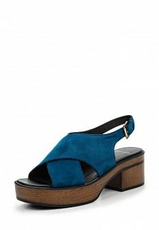 Женские синие босоножки на каблуке на платформе