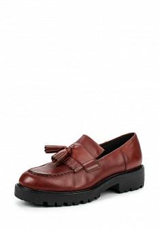 Женские коричневые осенние туфли лоферы на каблуке