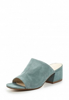 Женские голубые сабо на каблуке