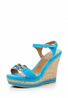 Женские голубые босоножки на каблуке на платформе