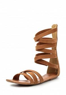 Женские коричневые сандалии из нубука с высоким голенищем