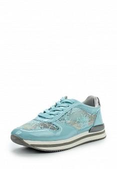 Женские голубые кожаные кроссовки