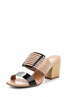 Женские бежевые лаковые сабо на каблуке