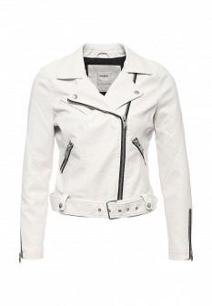 Женская белая осенняя кожаная куртка
