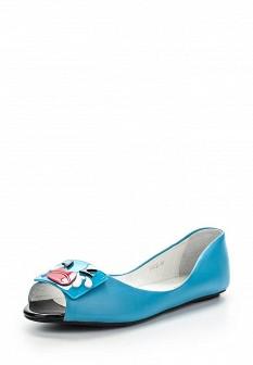 Женские голубые осенние кожаные балетки
