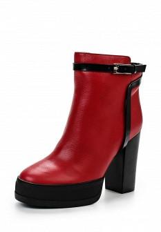 Женские красные осенние сапоги на каблуке на платформе