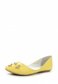 Женские желтые кожаные балетки