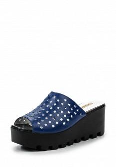 Женские синие кожаные сабо на каблуке на платформе