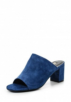 Женские синие сабо на каблуке