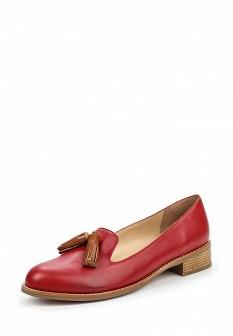 Женские красные кожаные туфли лоферы на каблуке