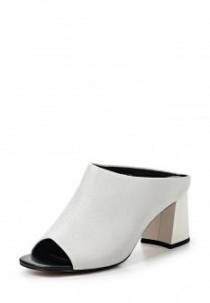 Женские белые кожаные сабо на каблуке