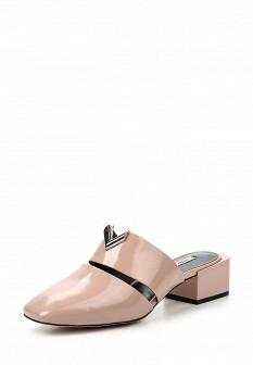 Женские розовые кожаные сабо на каблуке