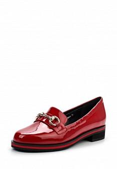 Женские красные лаковые туфли лоферы на каблуке
