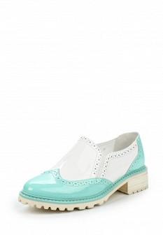 Женские бирюзовые кожаные лаковые туфли лоферы