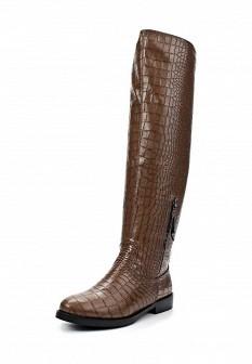Коричневые осенние кожаные ботфорты