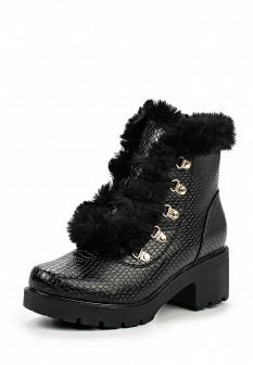 Женские черные кожаные ботинки на каблуке с мехом