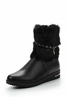 Женские черные кожаные сапоги на каблуке с мехом
