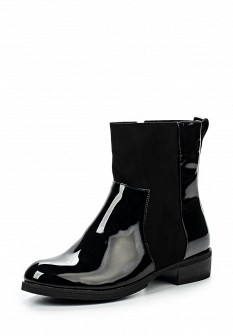 Женские черные кожаные лаковые сапоги на каблуке
