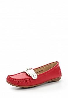 Женские красные кожаные летние мокасины