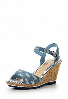 Женские голубые текстильные босоножки на каблуке на платформе