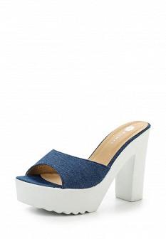 Женские синие сабо на каблуке на платформе
