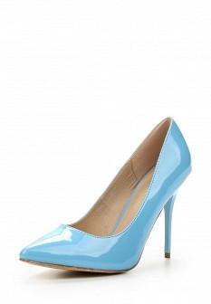 Женские голубые осенние кожаные лаковые туфли