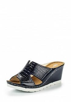 Женские синие лаковые сабо на каблуке