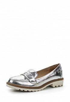 Женские серебряные кожаные туфли лоферы на каблуке