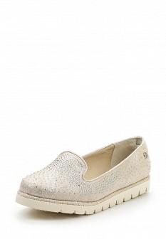 Женские бежевые текстильные туфли лоферы