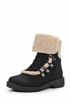 Женские черные осенние ботинки на каблуке с мехом