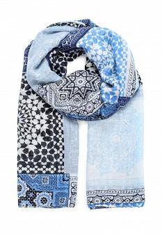 Женский синий осенний шарф