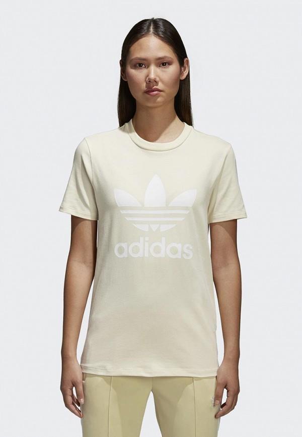 Футболка adidas Originals, adidas Originals AD093EWALPA7, желтый, Весна-лето 2018  - купить со скидкой