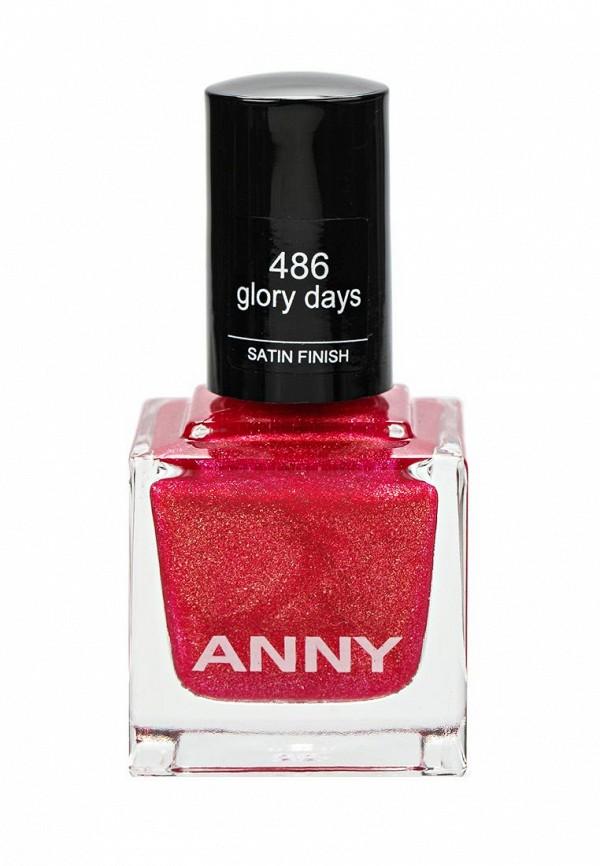 Лак для ногтей Anny тон 486 красно-розовый с золотом