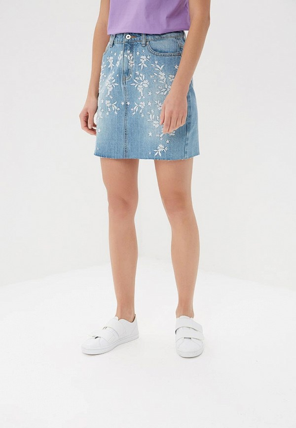 Купить Юбка джинсовая Befree, BE031EWBDOX0, голубой, Весна-лето 2018