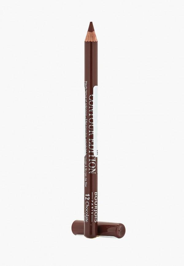 Купить Карандаш для губ Bourjois, Контурный Levres Contour Edition, Тон 12 chocolate chip, BO031LWFFM63, коричневый, Весна-лето 2018