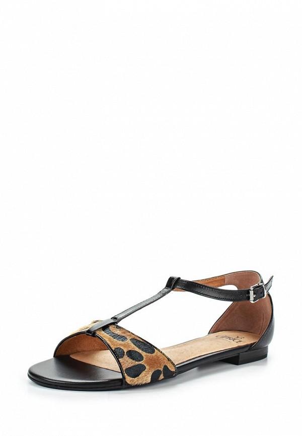 Женские бежевые черные кожаные сандалии