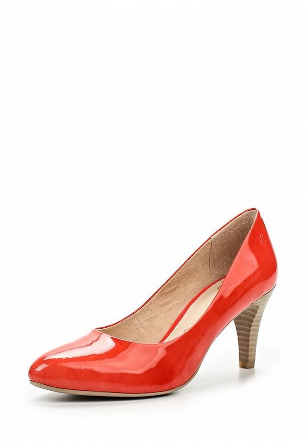 Женские коралловые кожаные лаковые туфли на каблуке