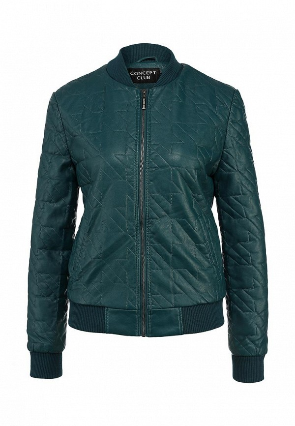 Куртка кожаная Concept Club. Цвет: зеленый