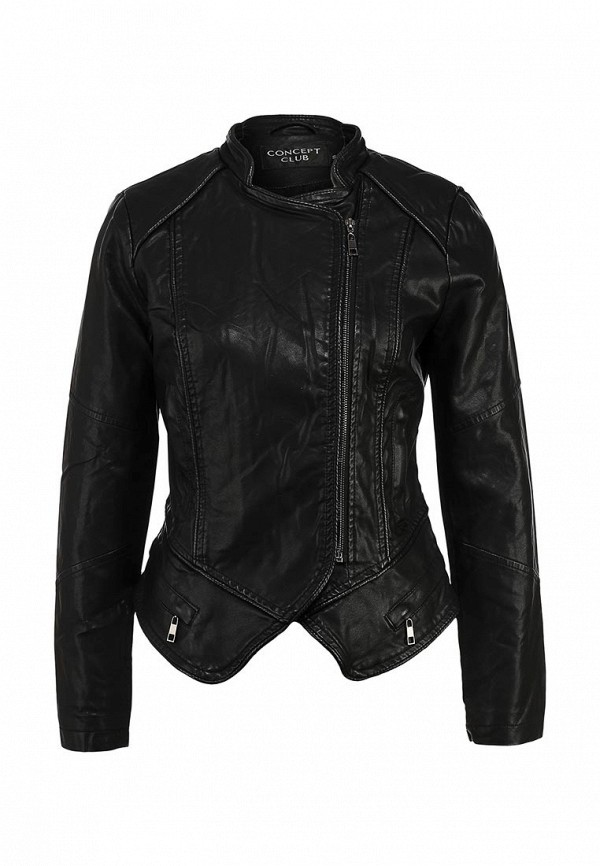 Куртка кожаная Concept Club CO037EWDDX36. Цвет: черный